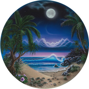 "MOONLIGHT MAGIC 16"" Round Fine Art Print on Museum Paper. Print"